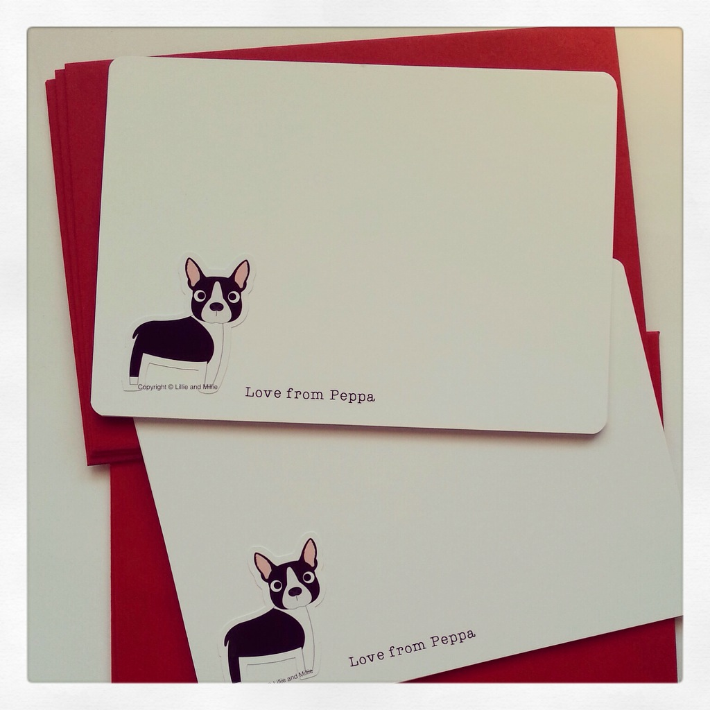 Cute and Cuddly Boston Terrier Notelet Cards