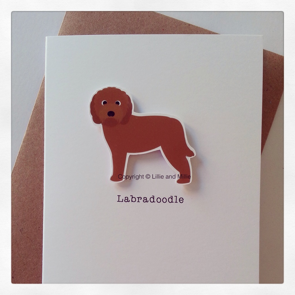 Precious Pooch Large Red Labradoodle Card