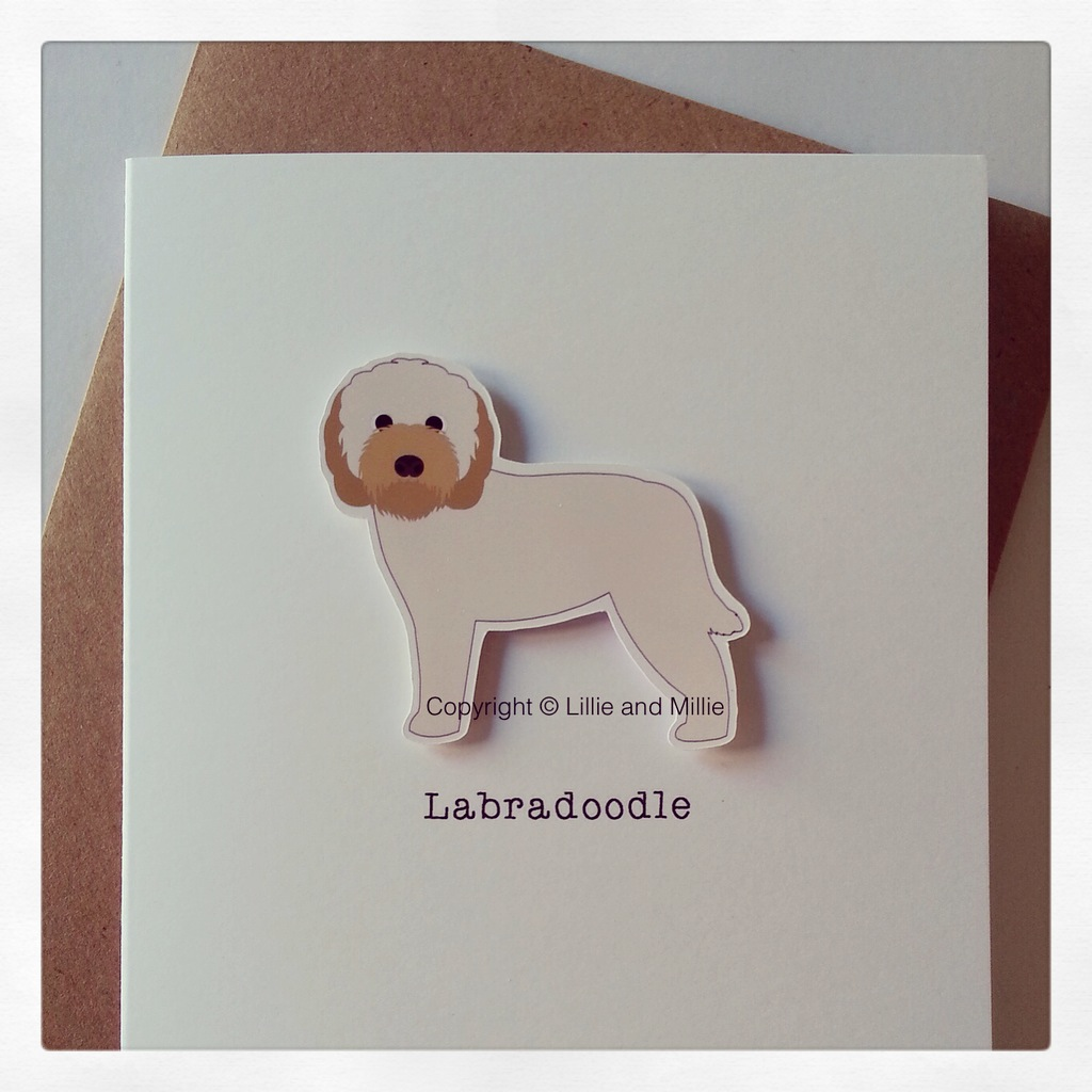 Precious Pooch Large Cream and Gold Labradoodle Card