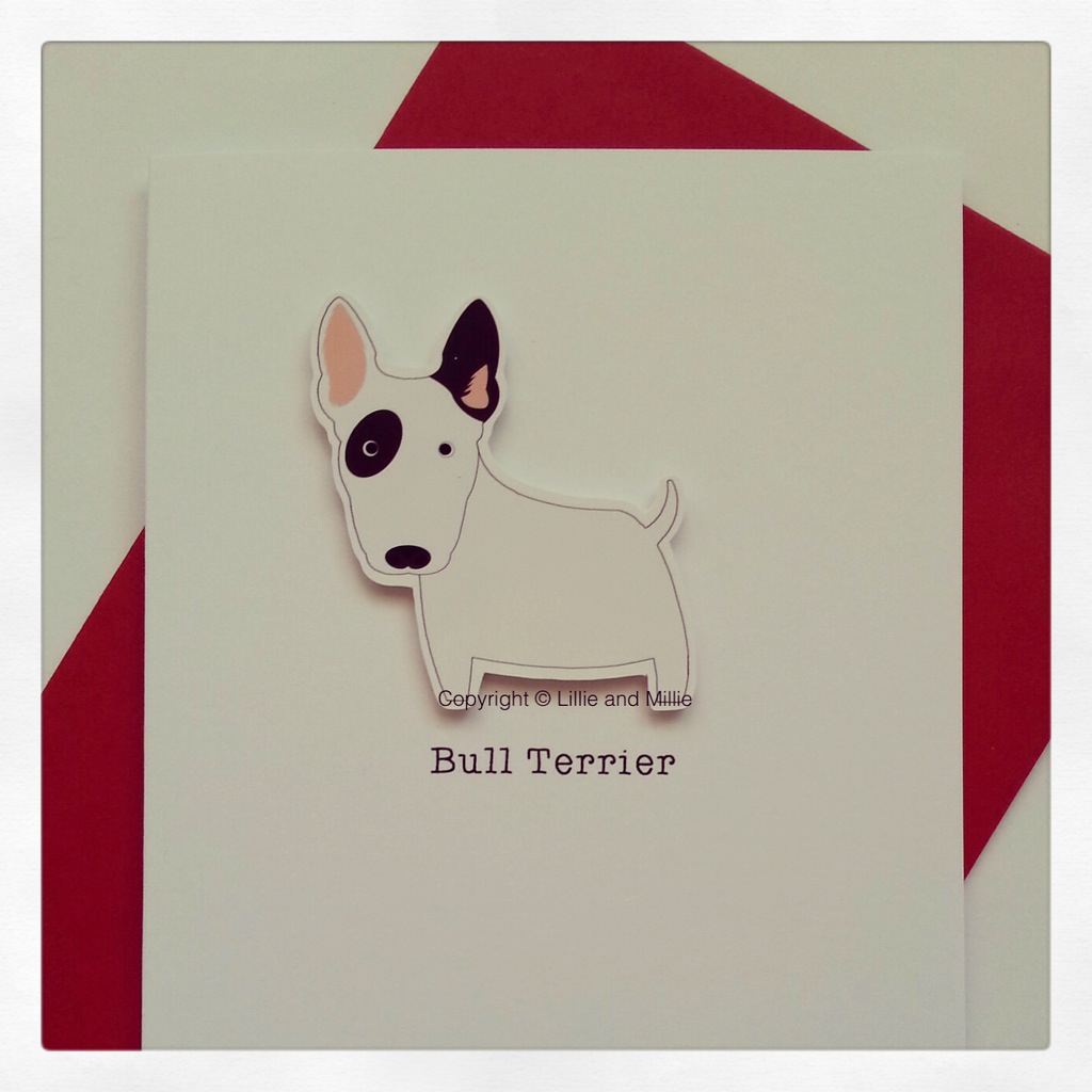 Cute and Cuddly Bull Terrier Greetings Card