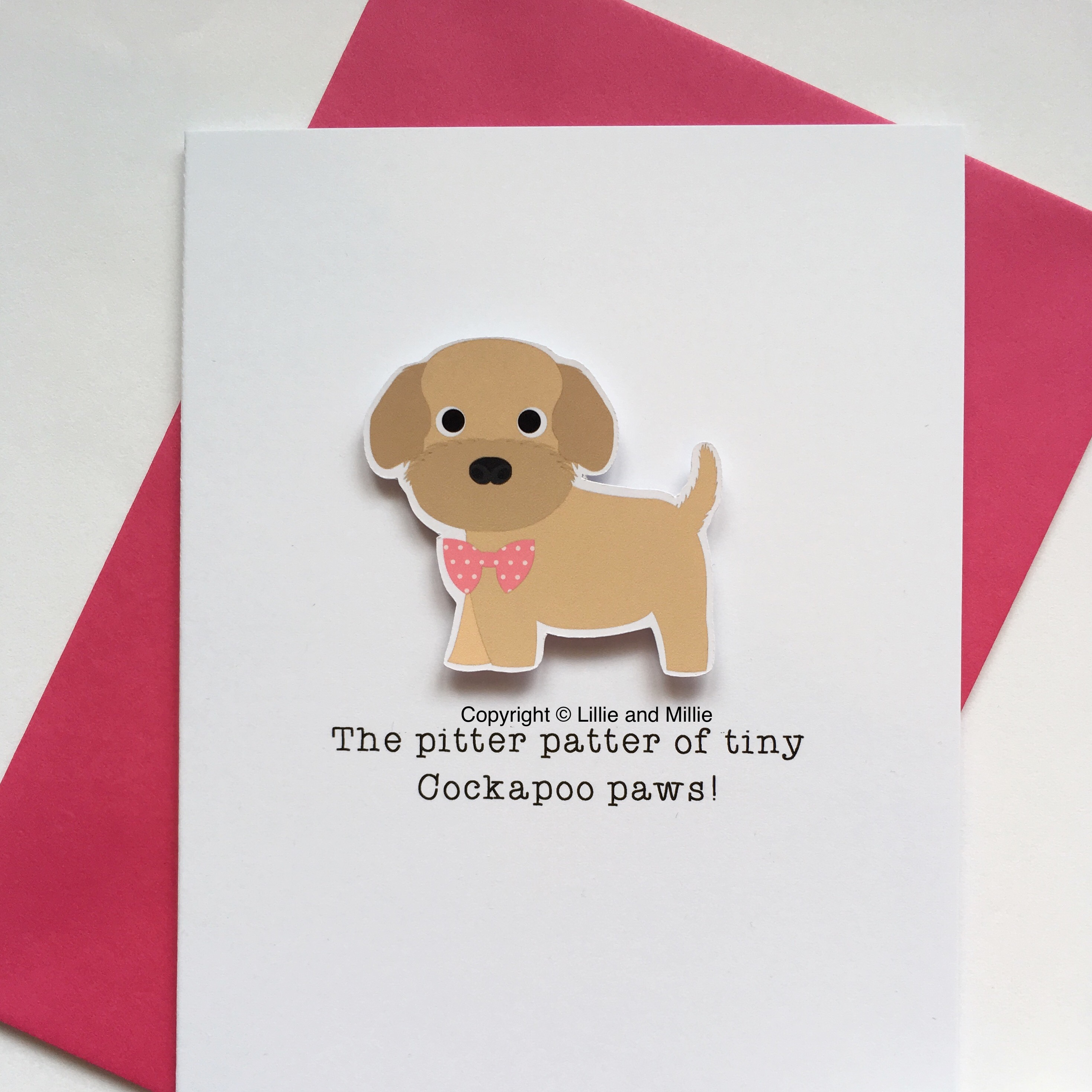 Cute and Cuddly Cockapoo Pink Bow Pitter Patter Puppy Card