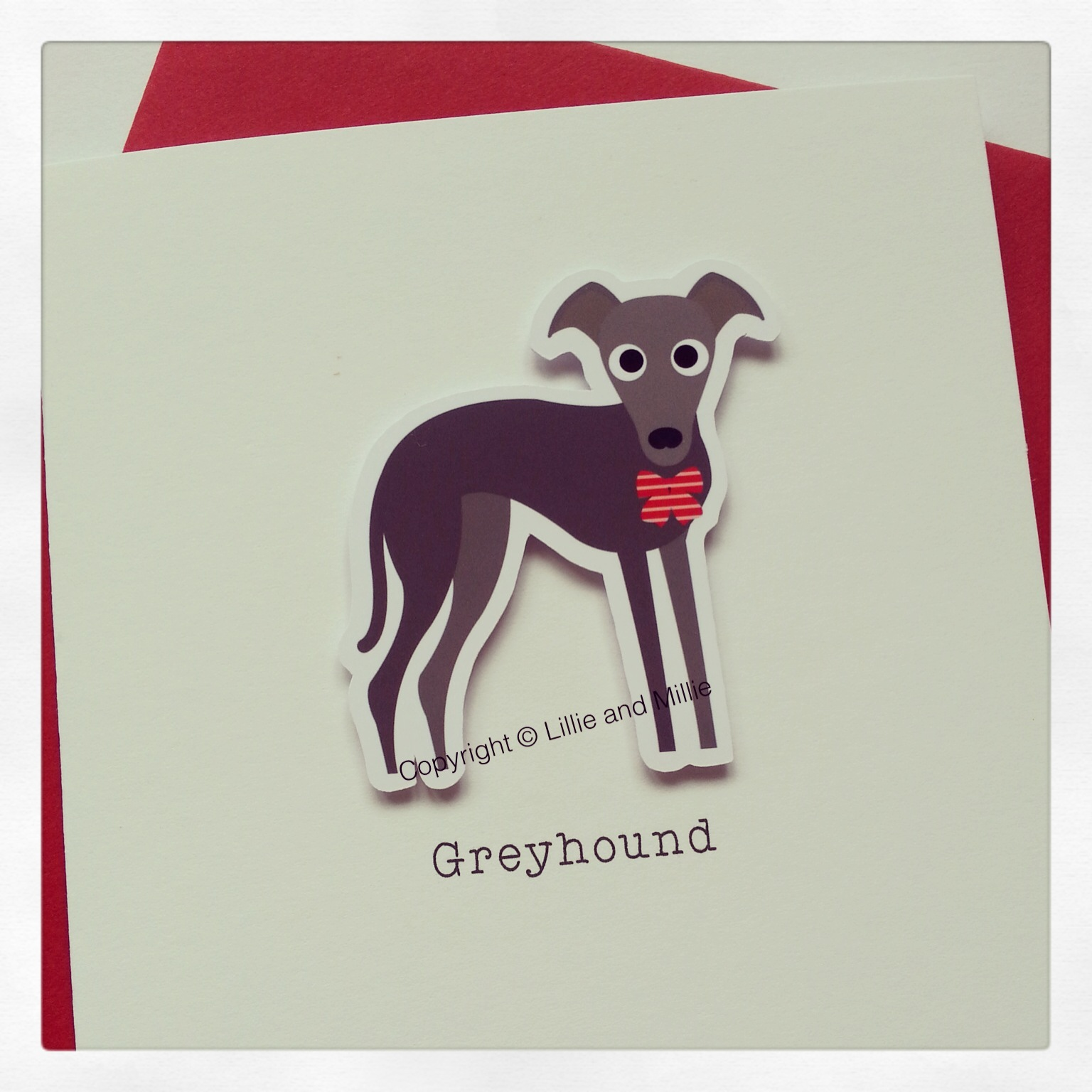 Cute and Cuddly Grey Greyhound Card