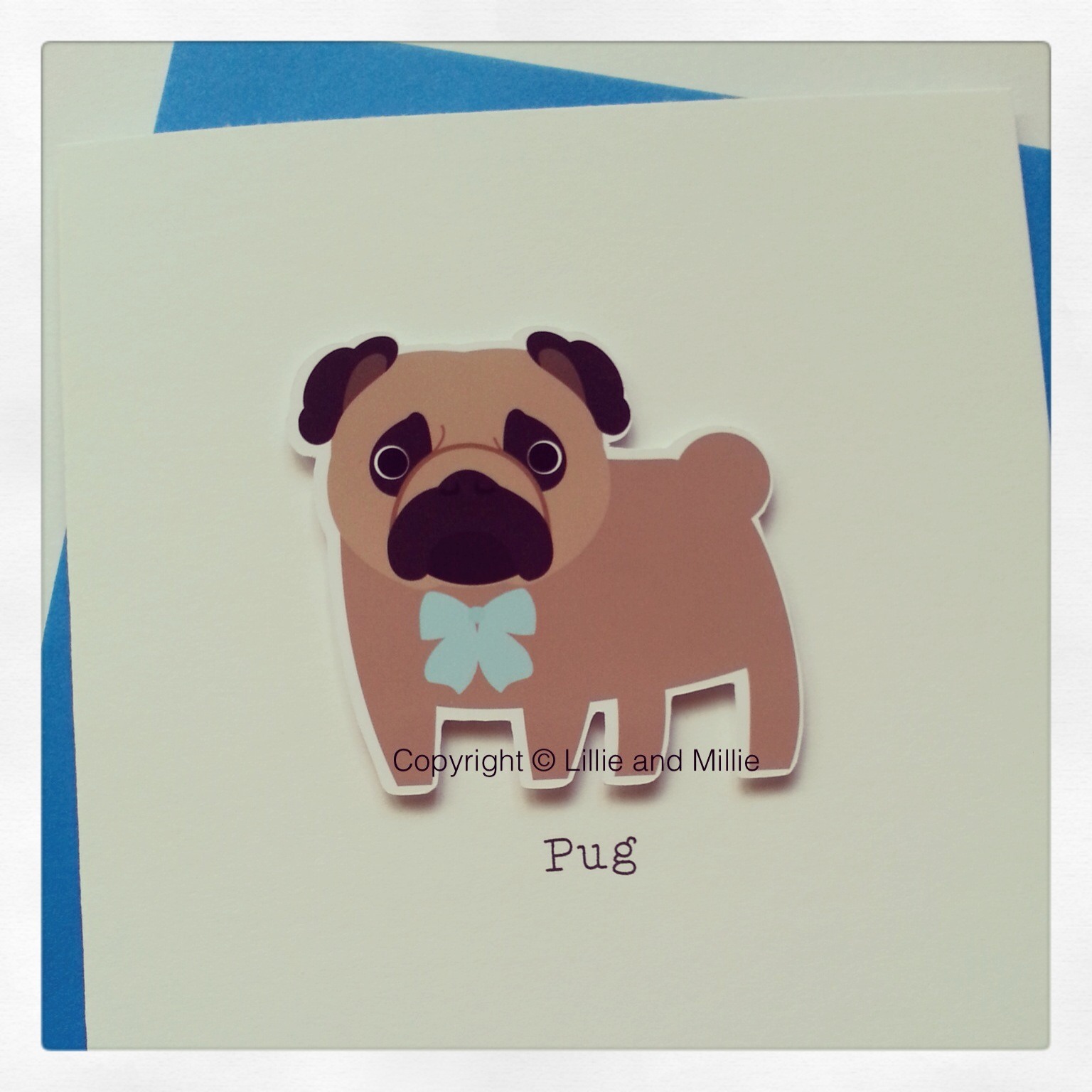 Cute and Cuddly Pug Blue Card