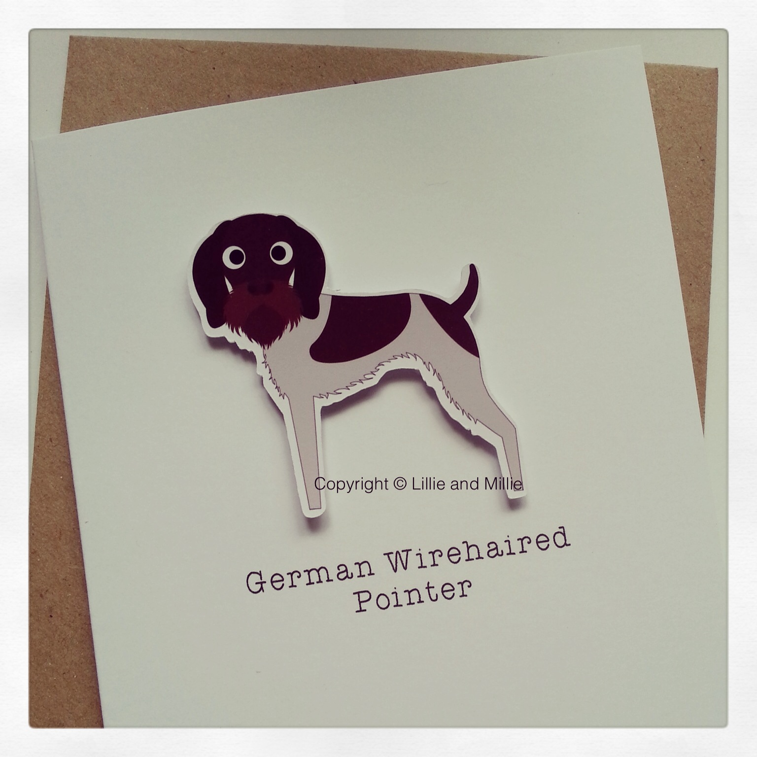 Cute and Cuddly German Wirehaired Pointer Greetings Card