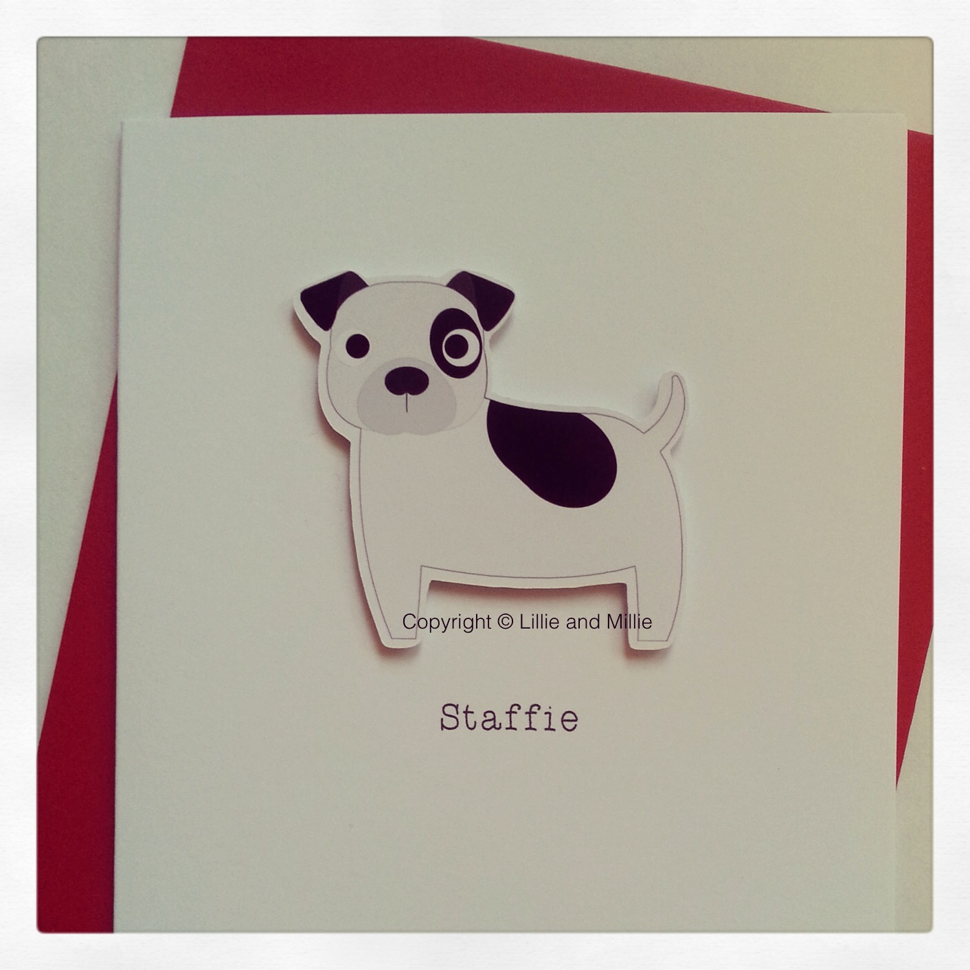 Cute and Cuddly White and Black Staffie Card