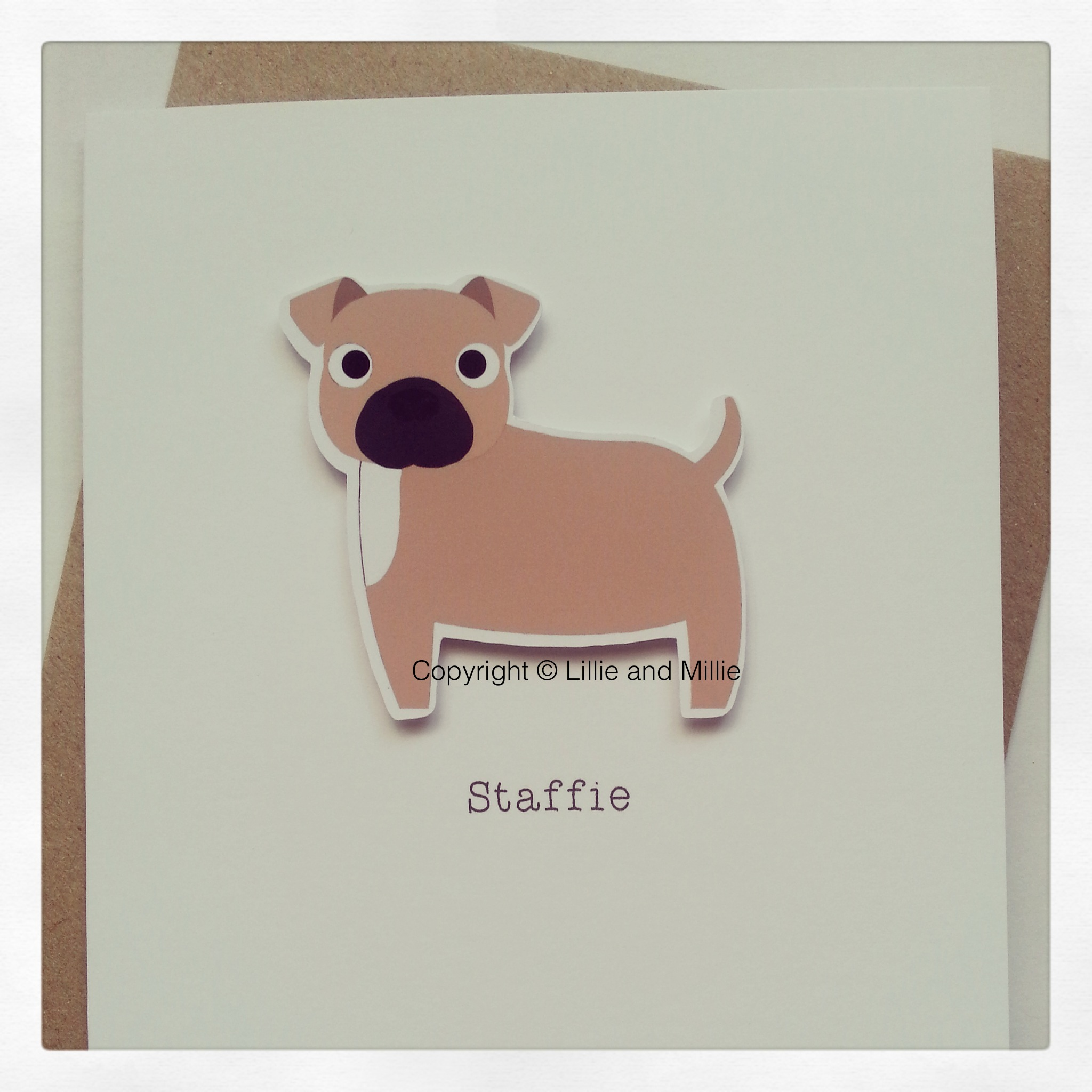 Cute and Cuddly Fawn and White Staffie Card