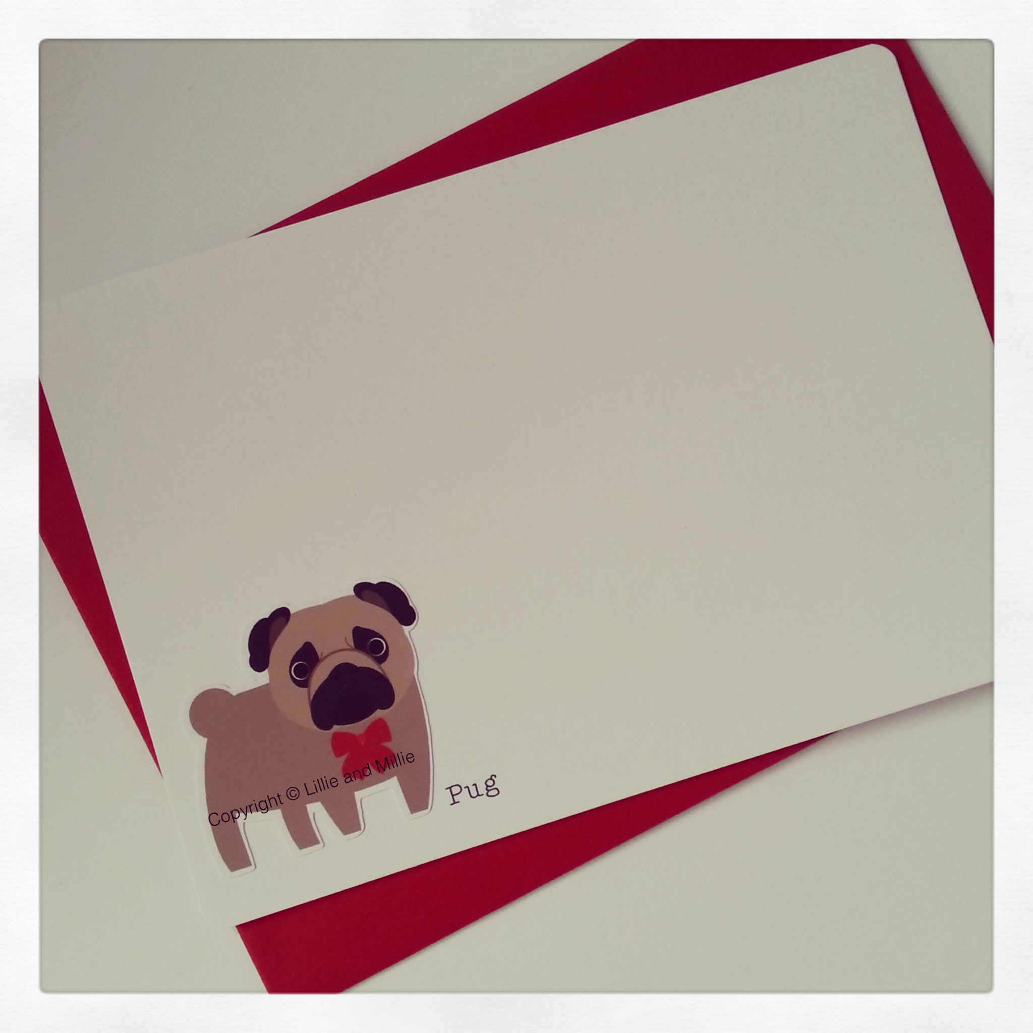 Cute and Cuddly Pug Notelet Cards 4 Pack