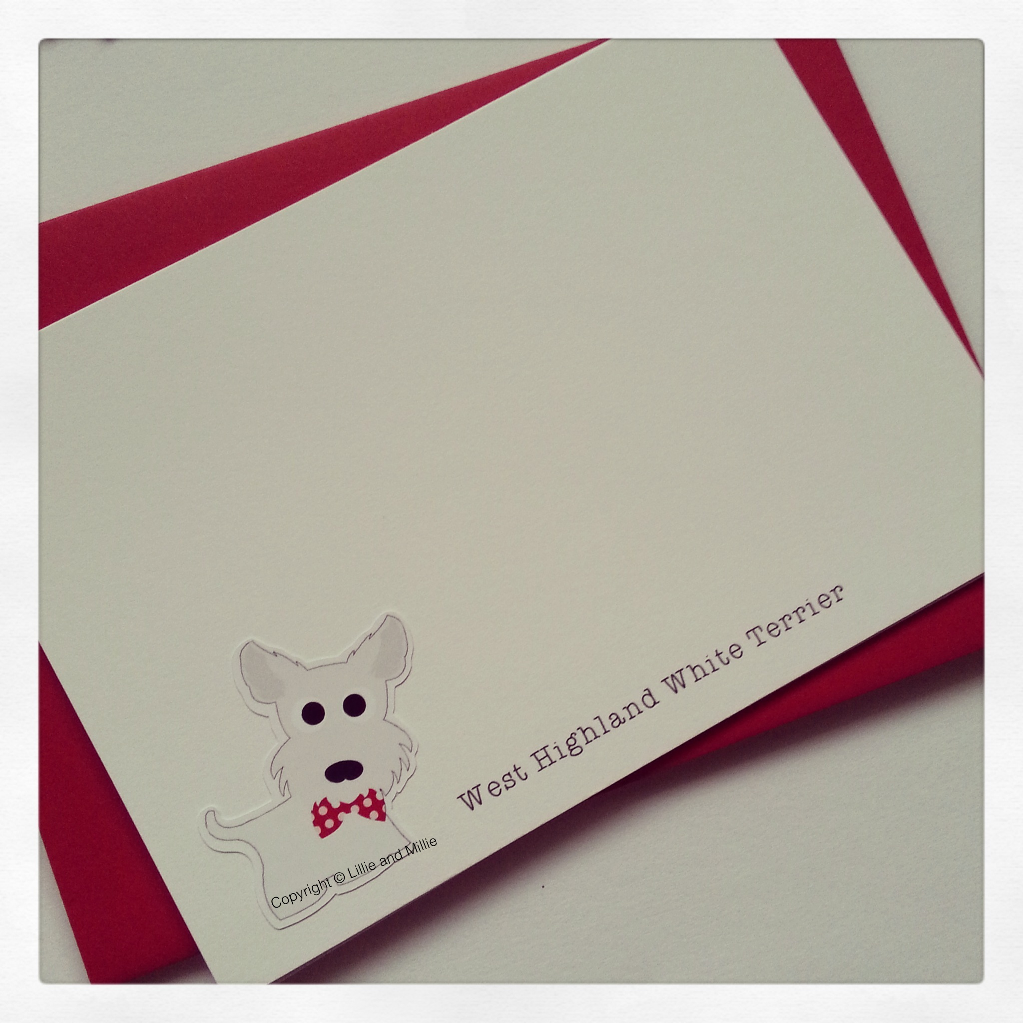Cute and Cuddly Westie Notelet Cards 4 Pack