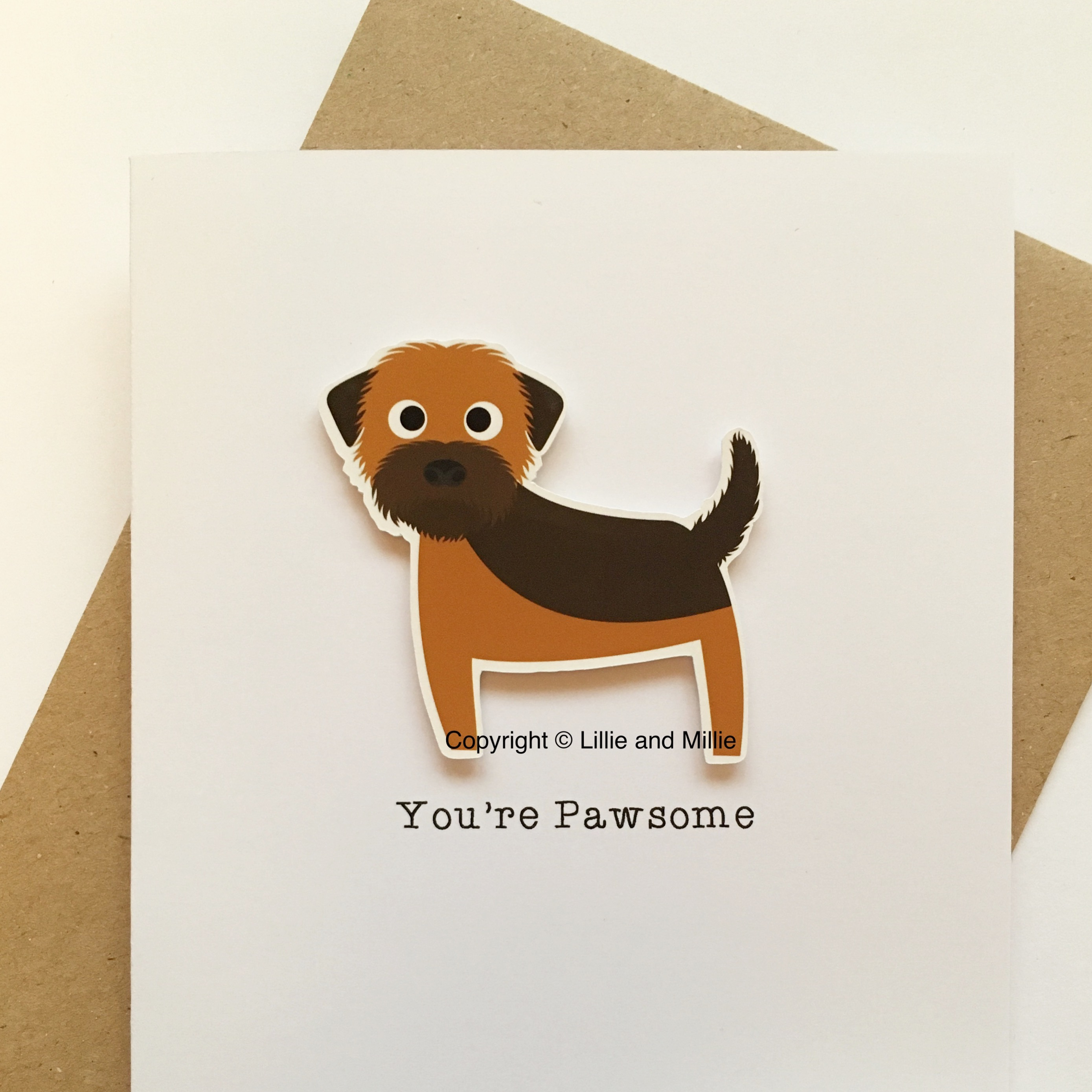 Cute and Cuddly Grizzle and Tan Border Terrier You're Pawsome Sale Card