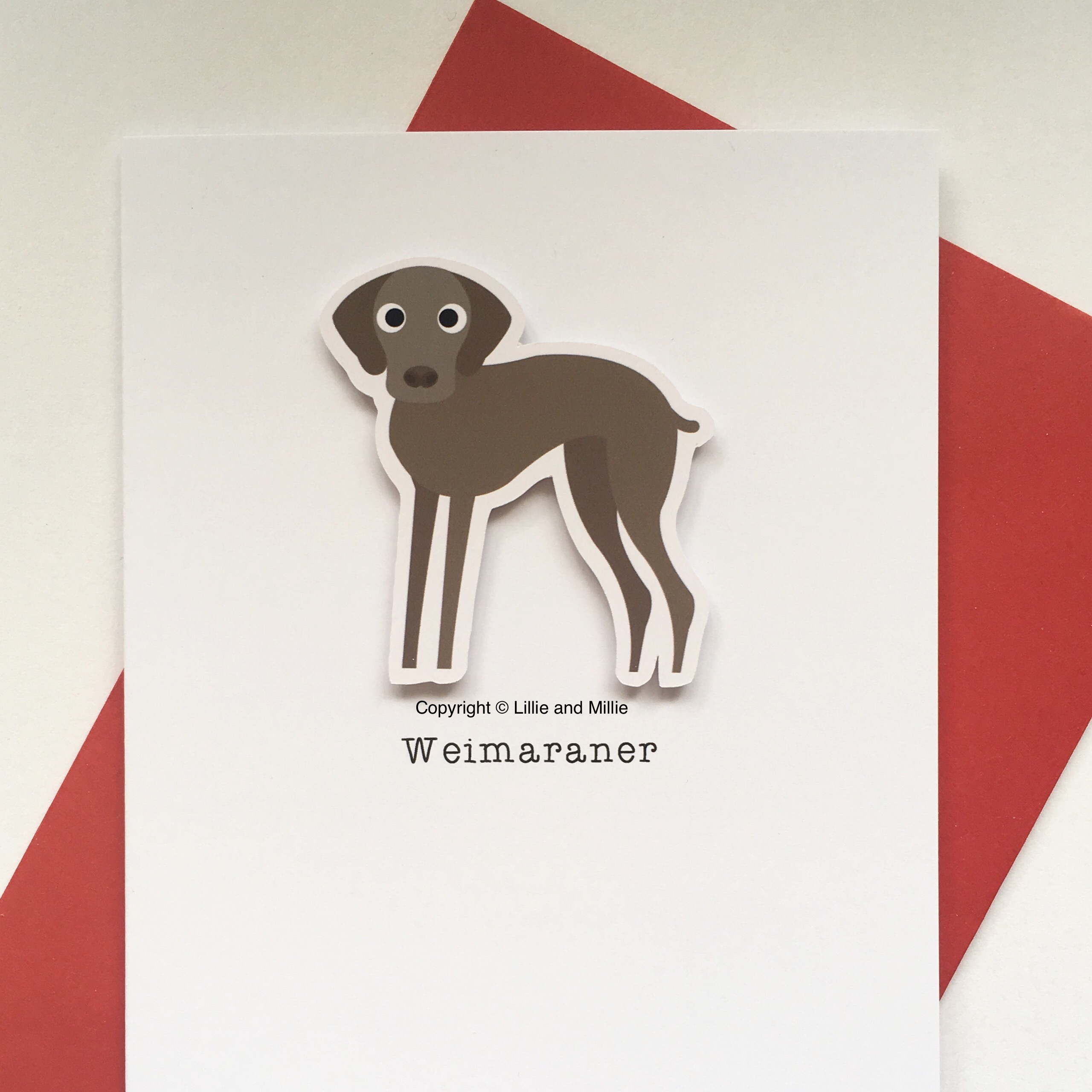 Cute and Cuddly Weimaraner Dog Greetings Card