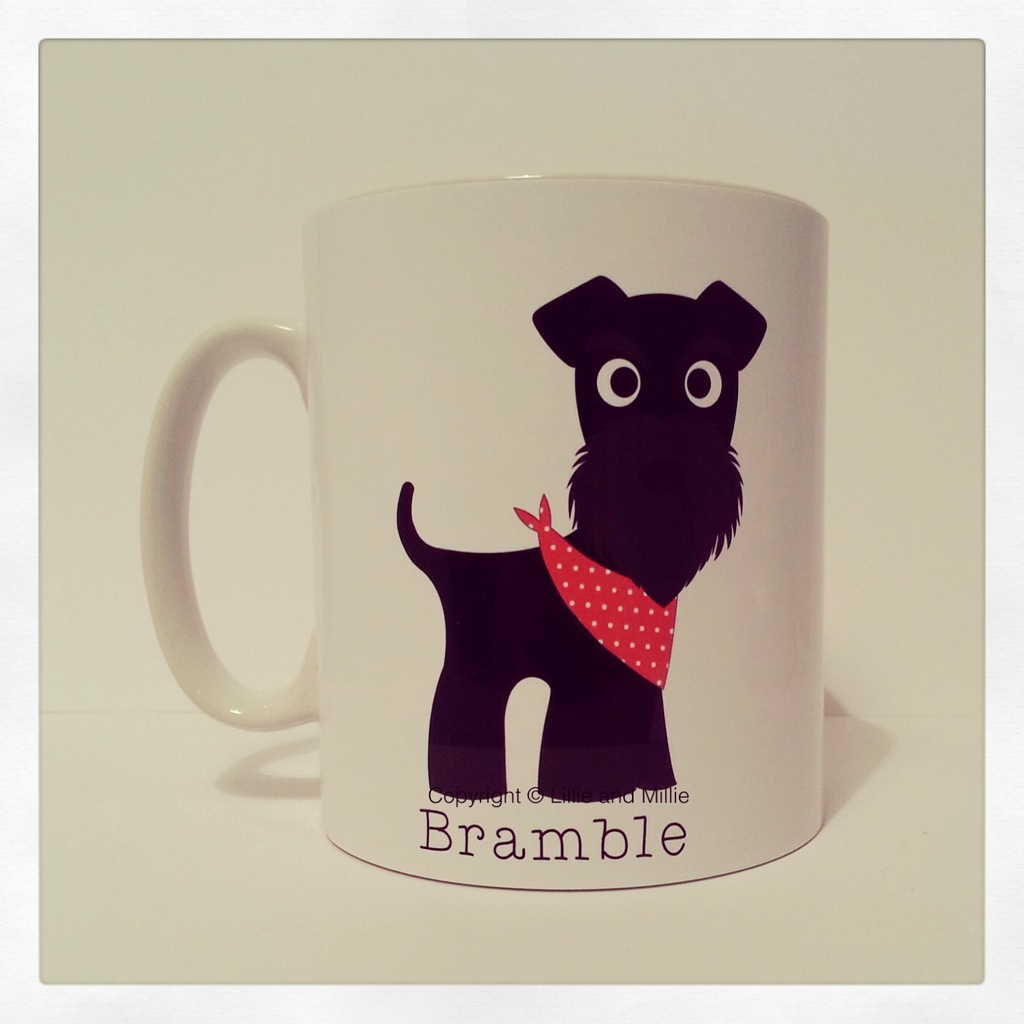 Cute and Cuddly Black Schnauzer Bandana Mug