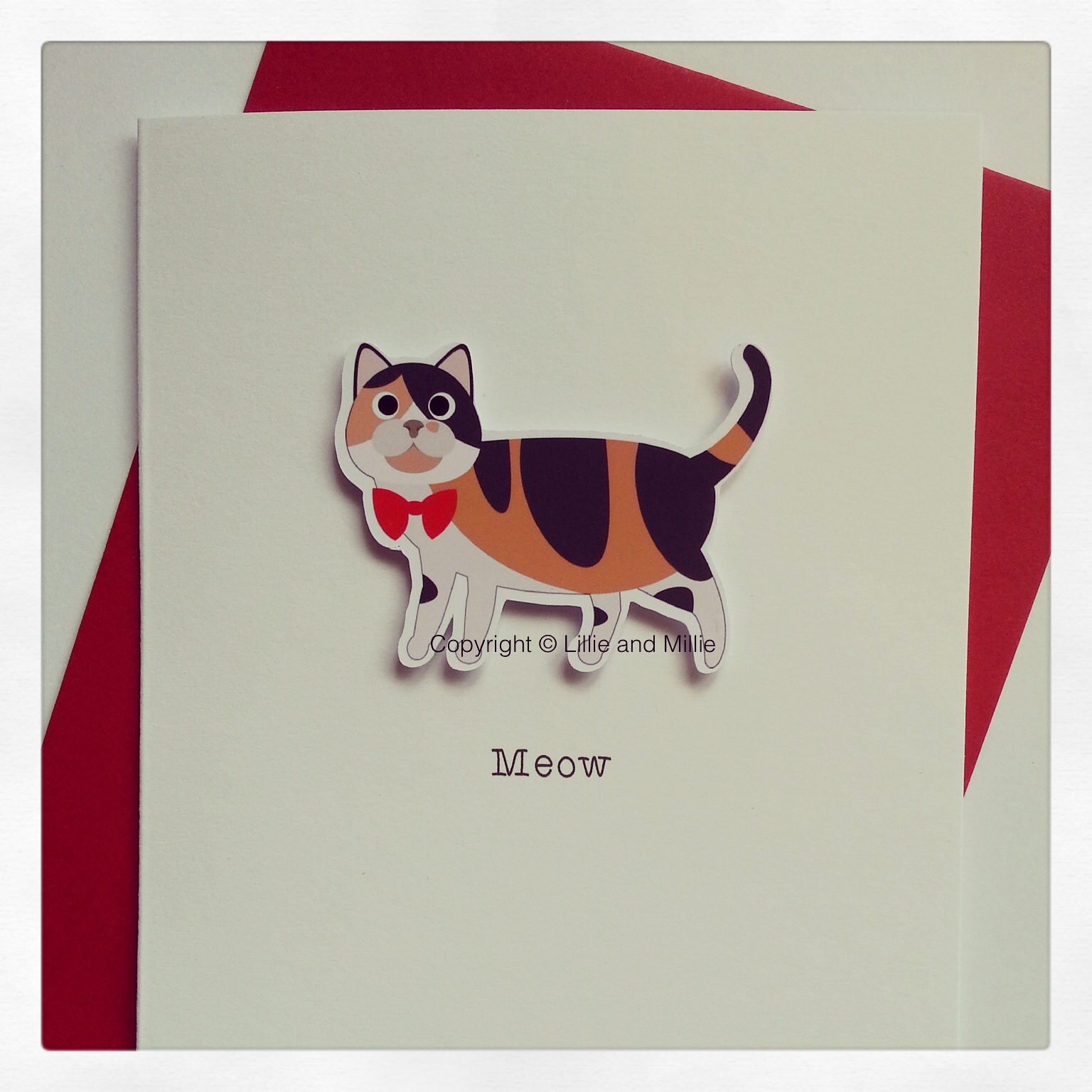 Cute and Cuddly Calico Cat Greetings Card