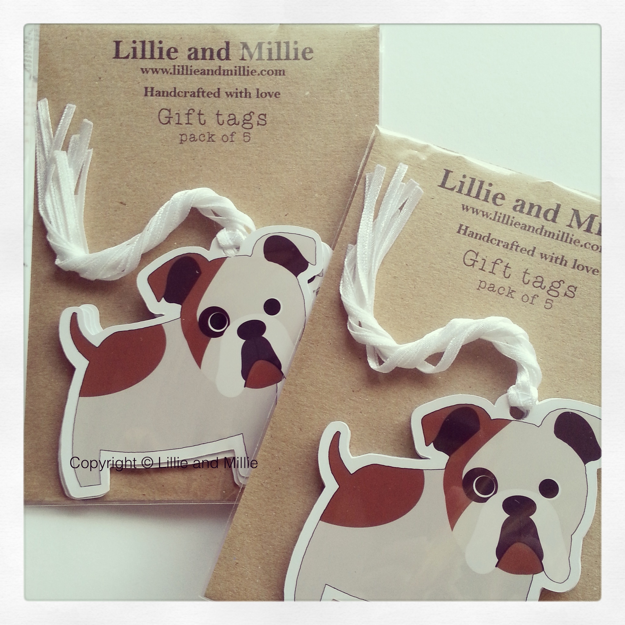 Cute and Cuddly Bulldog Gift Tags 5 Pack