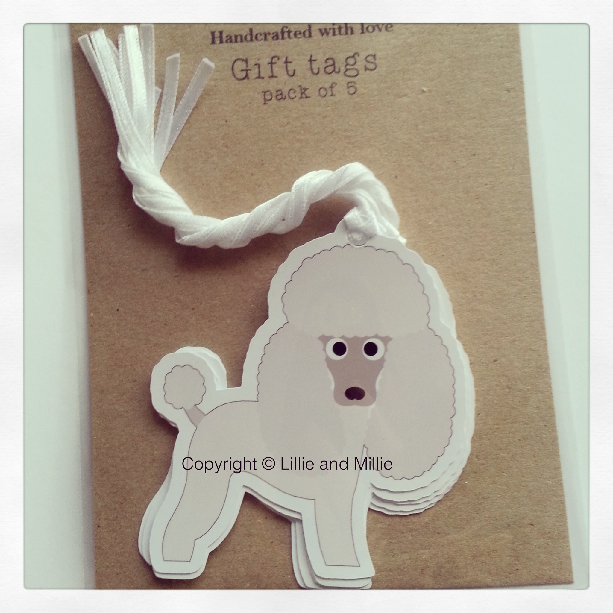 Cute and Cuddly Poodle Gift Tags 5 Pack