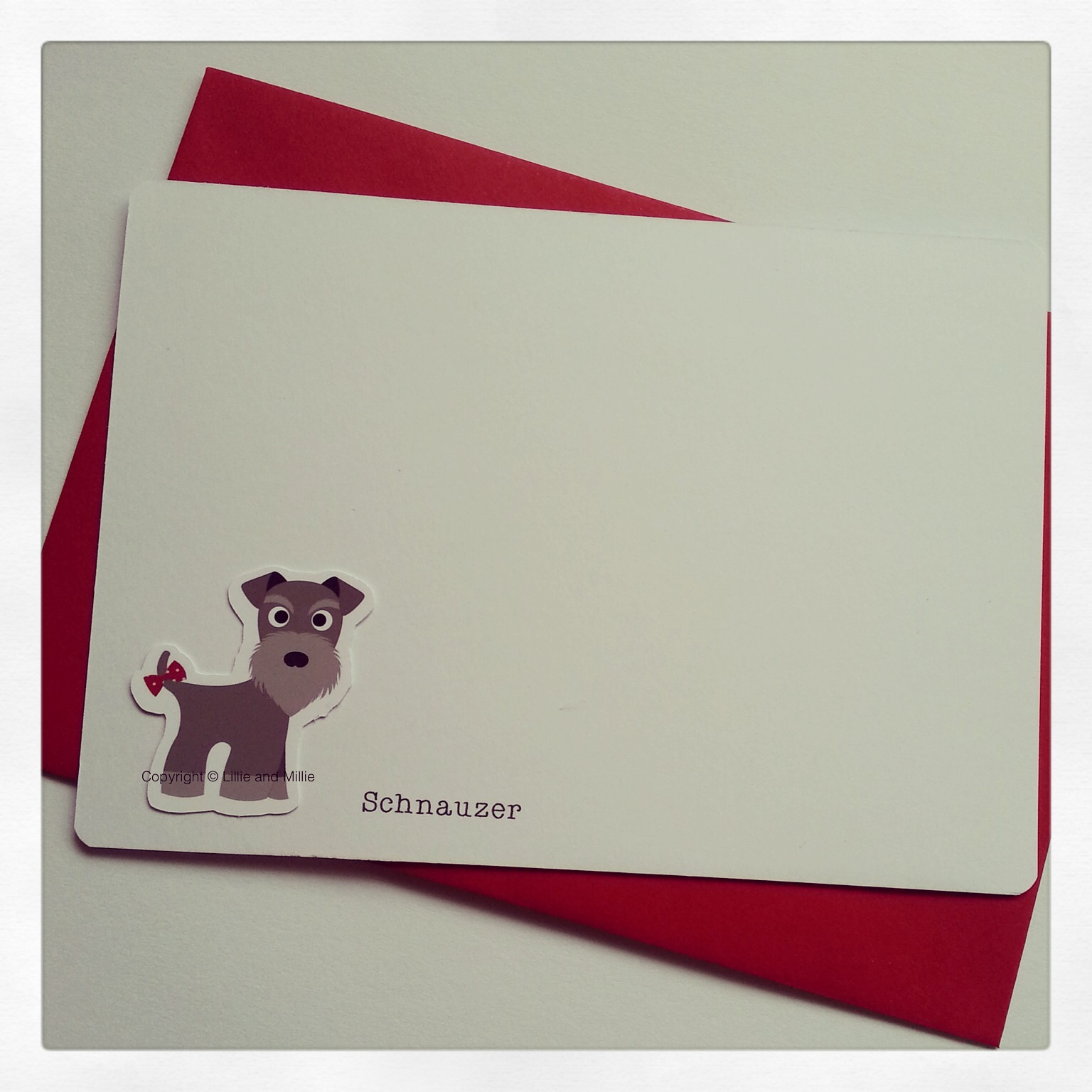 Cute and Cuddly Schnauzer Notelet cards