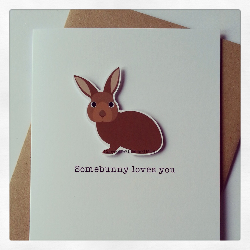Beautiful Bunny Brown Somebunny Loves You Card