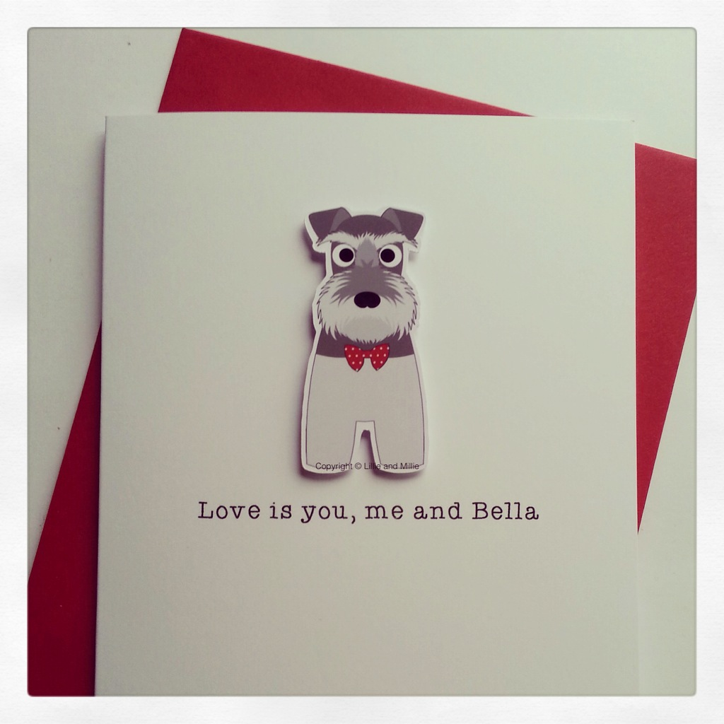 Precious Pooch Salt and Pepper Love is Red Schnauzer Card