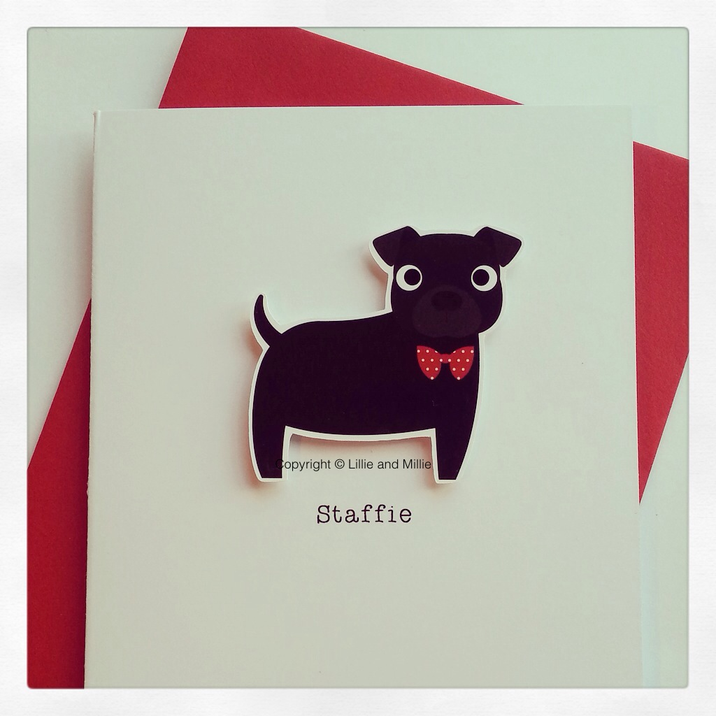 Cute and Cuddly Black Bow Tie Staffie Card