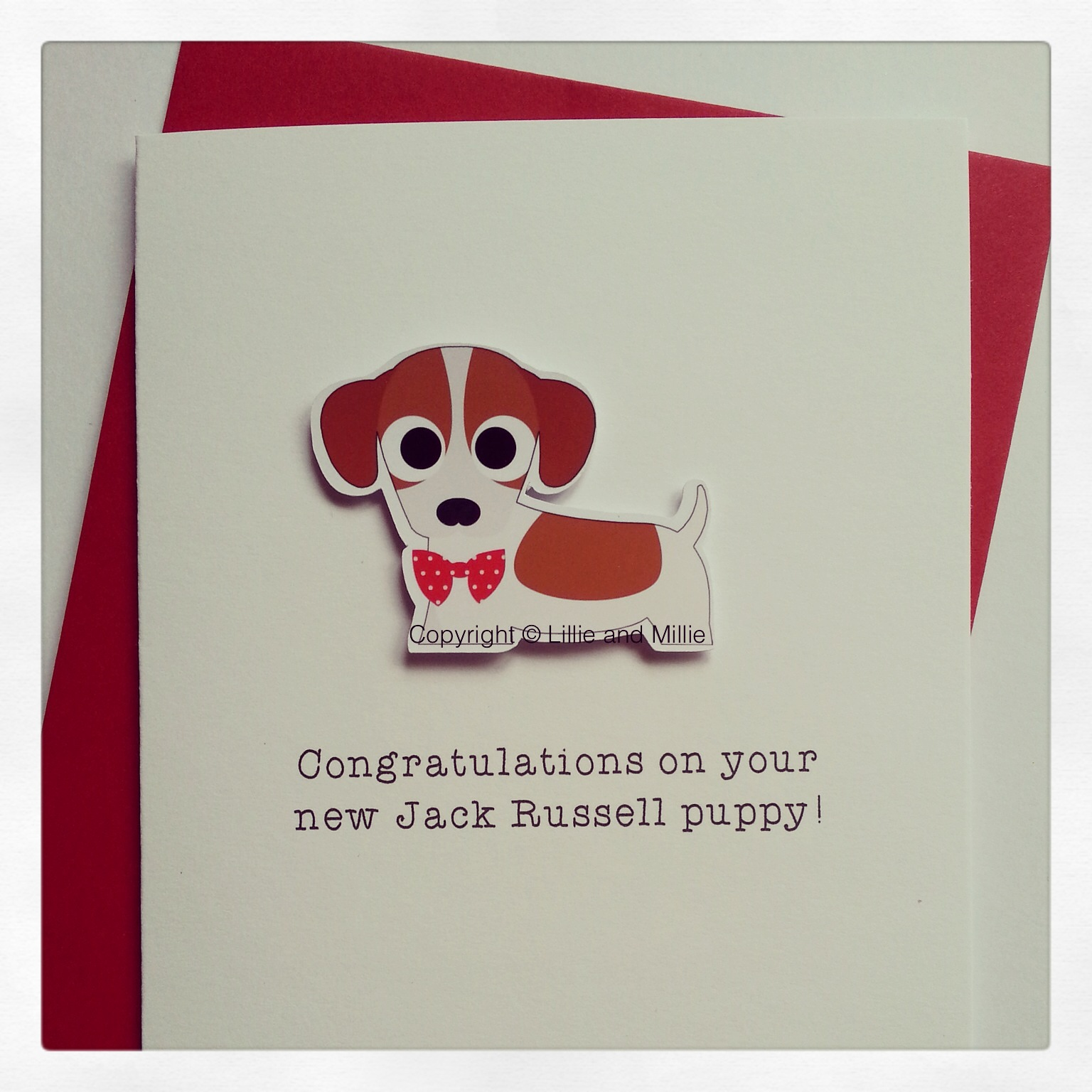 Cute and Cuddly Jack Russell Red Bow Congratulations Puppy Card