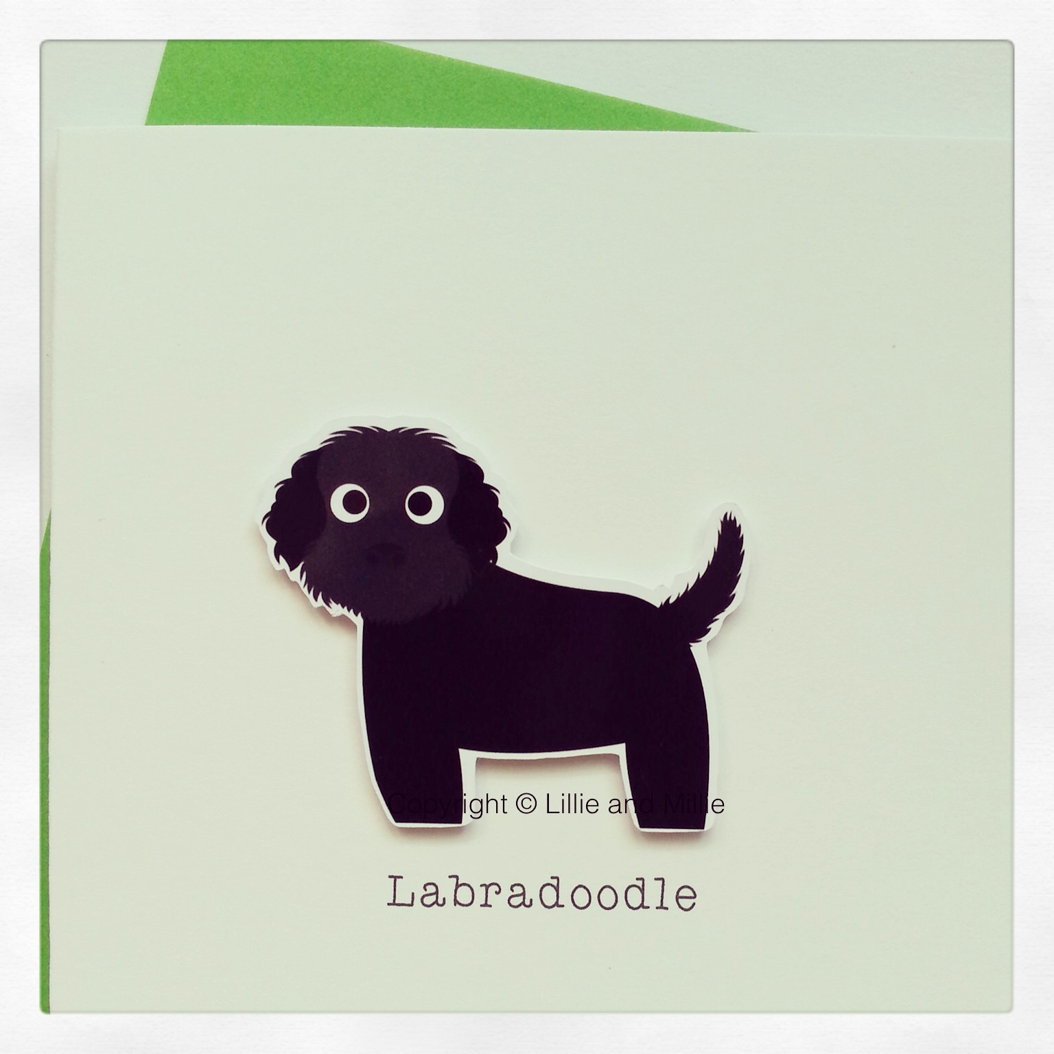 Cute and Cuddly Black Labradoodle Card