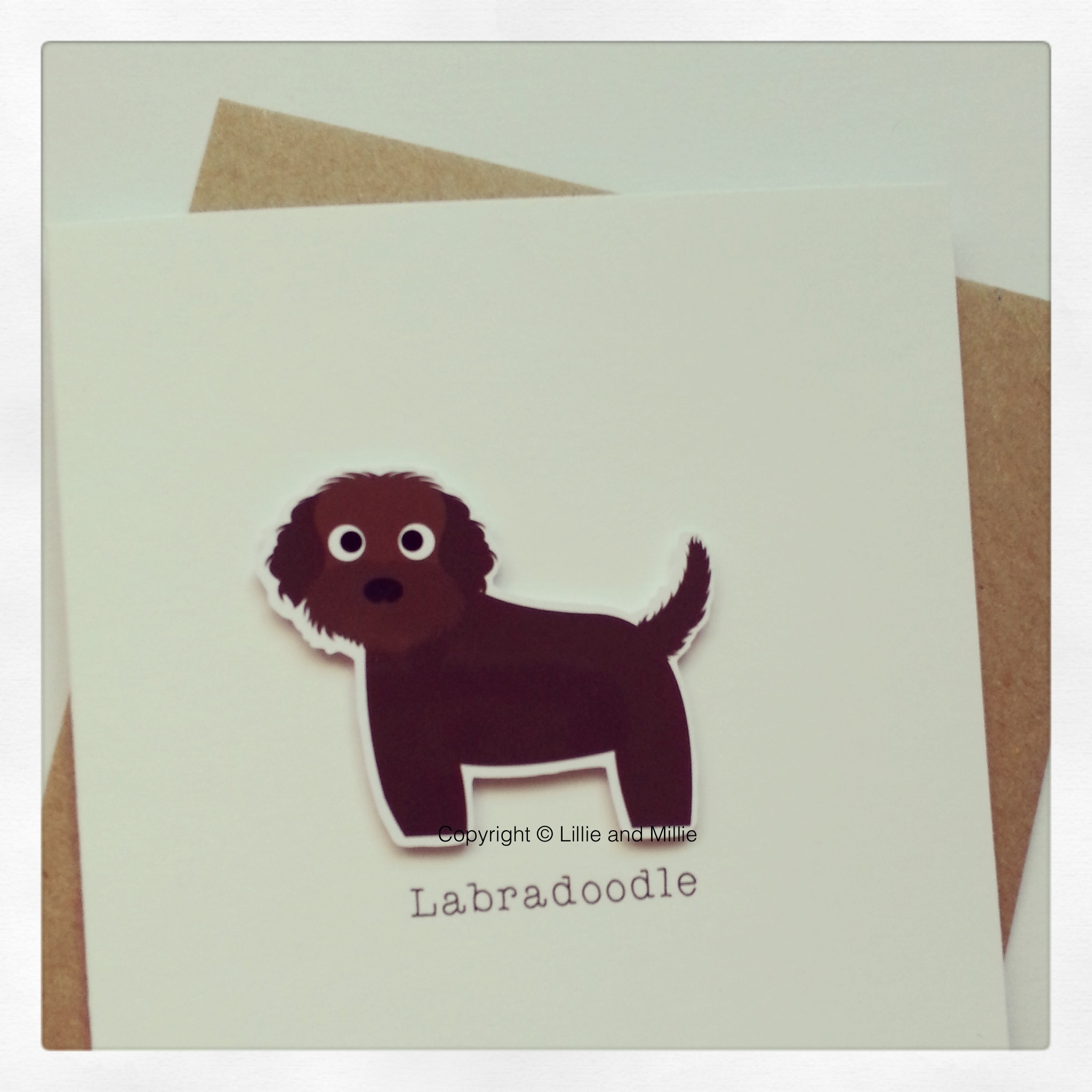 Cute and Cuddly Chocolate Labradoodle Card