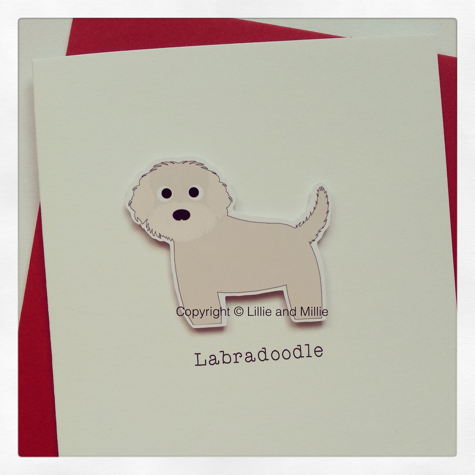 Cute and Cuddly Cream Labradoodle Card