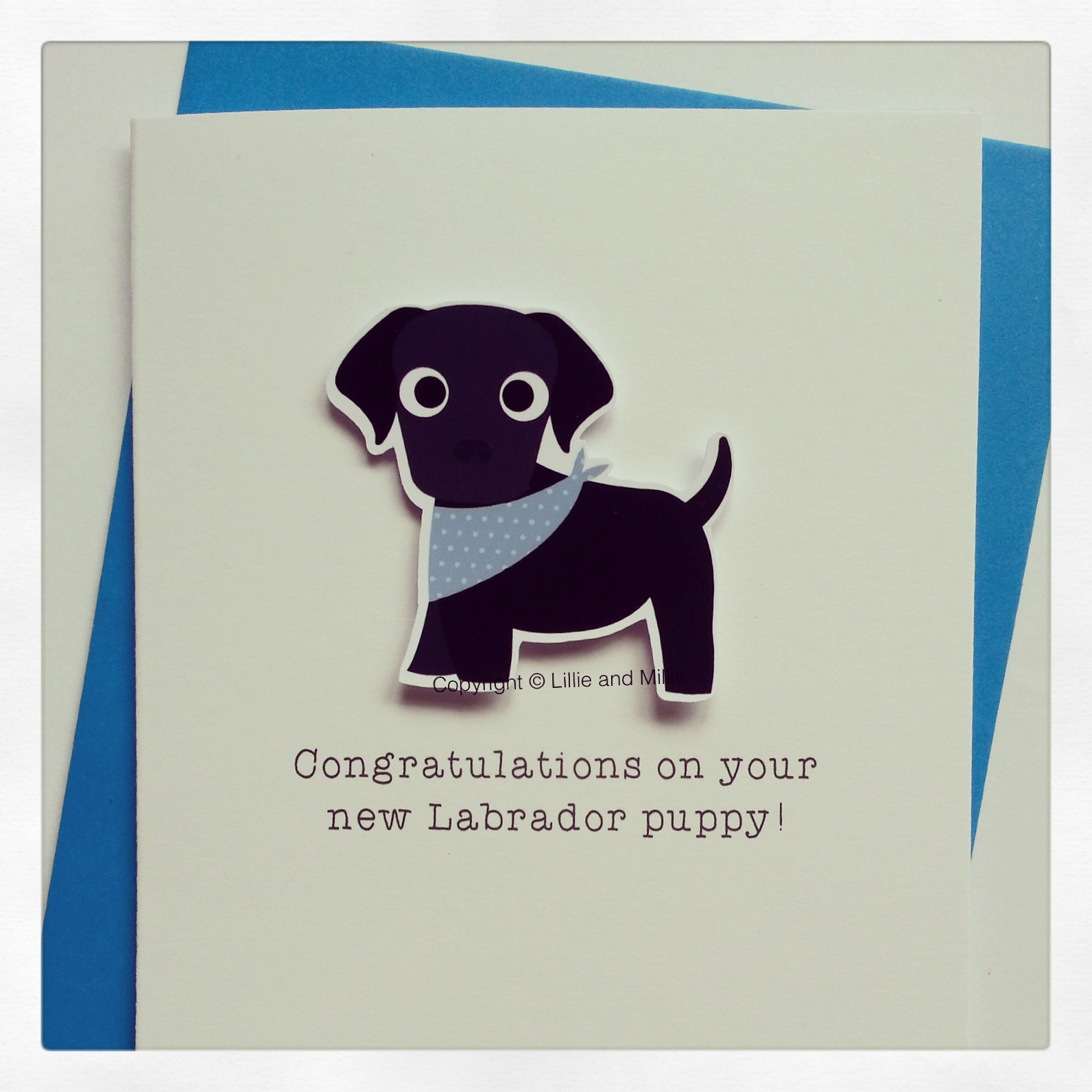 Cute and Cuddly Black Labrador Blue Bandana Congratulations Puppy Card
