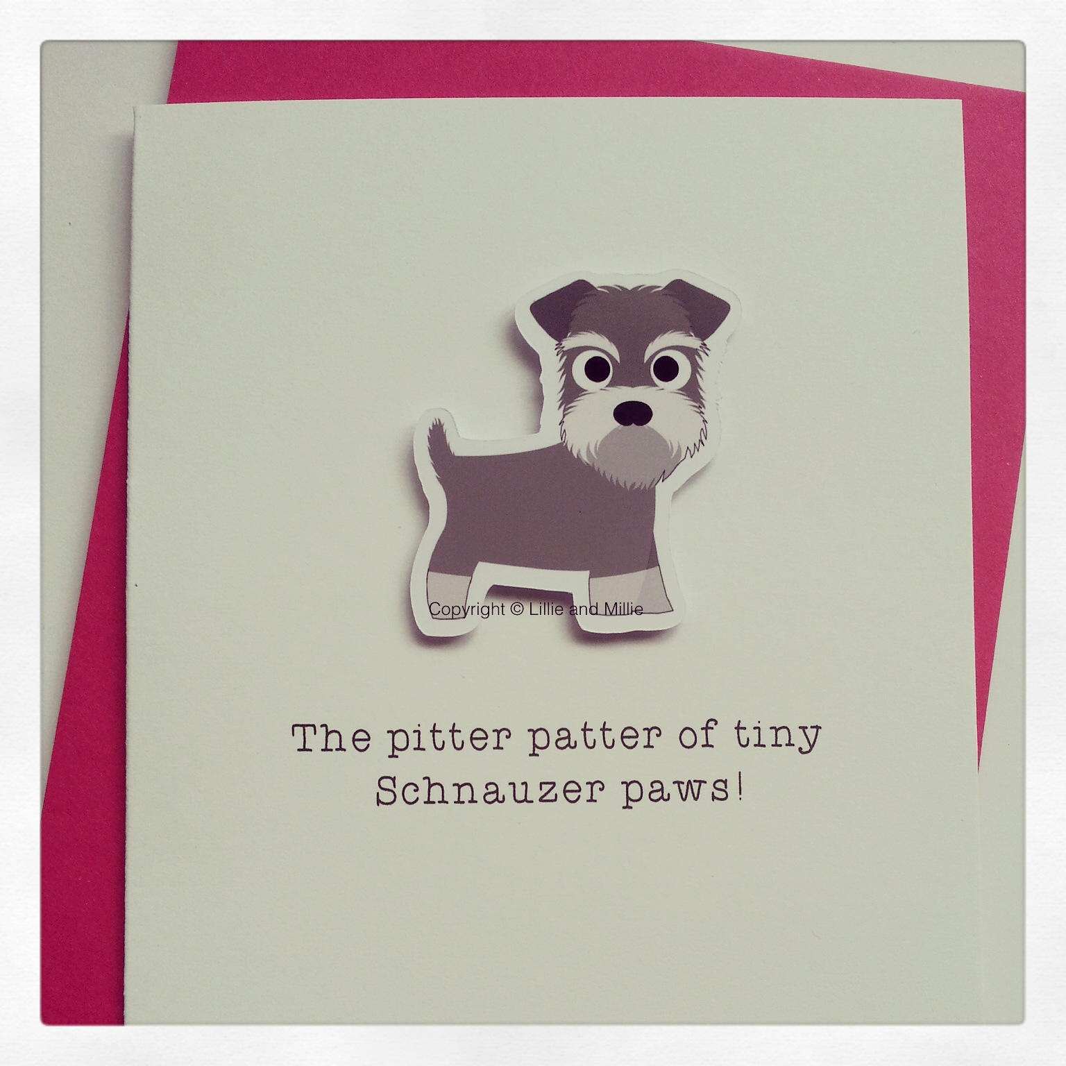 Cute and Cuddly Schnauzer Pitter Patter Puppy Card
