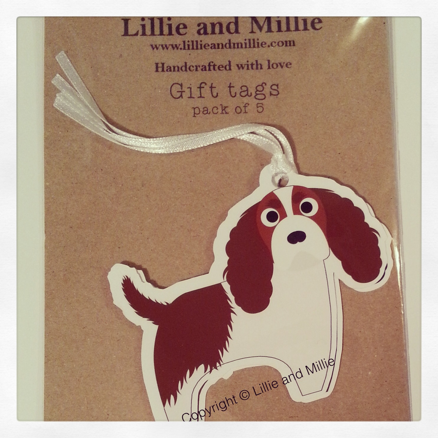 Cute and Cuddly King Charles Spaniel Gift Tags 5 Pack