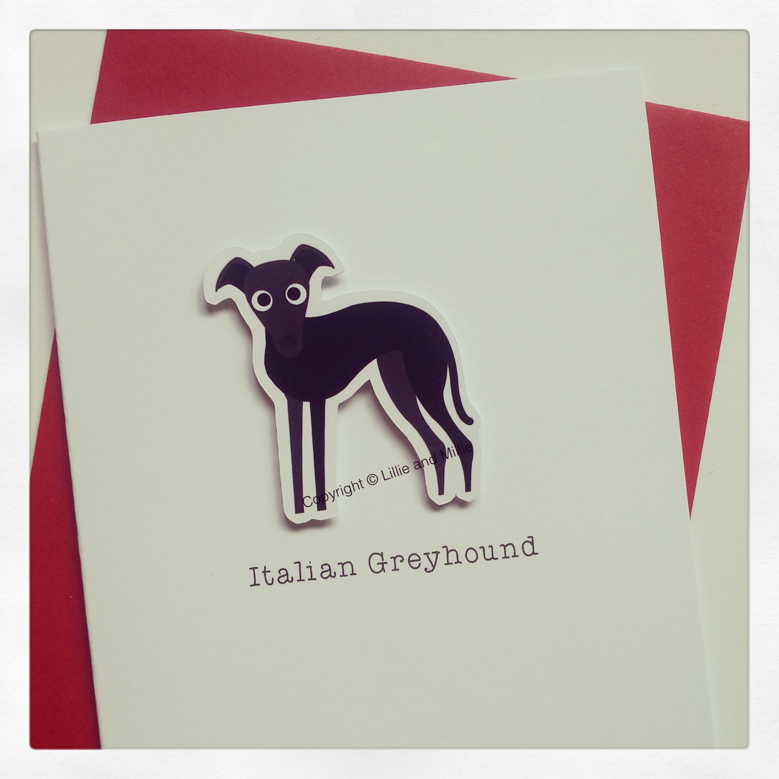 Cute and Cuddly Italian Greyhound Greetings Card