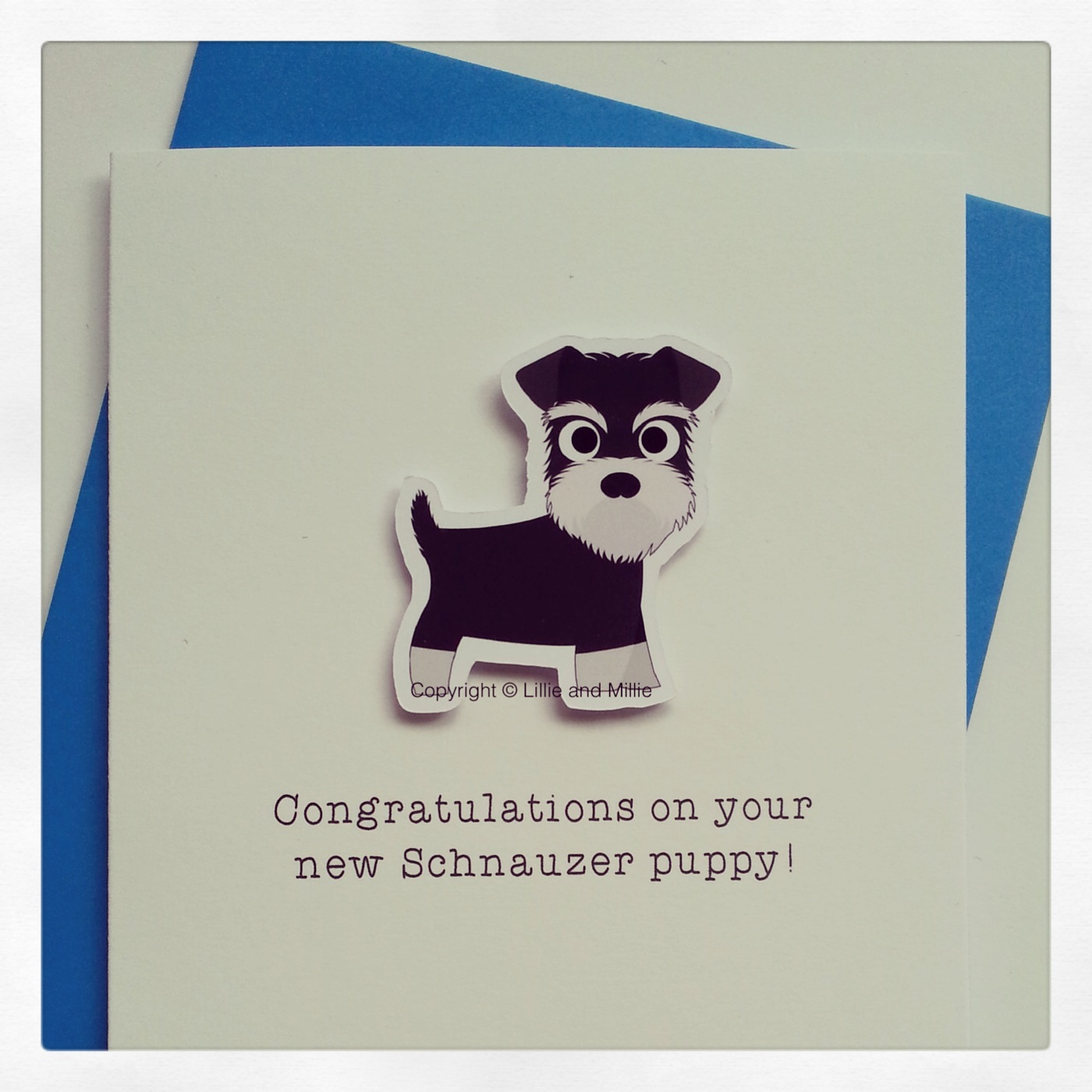 Cute and Cuddly Schnauzer Congrats Puppy Card