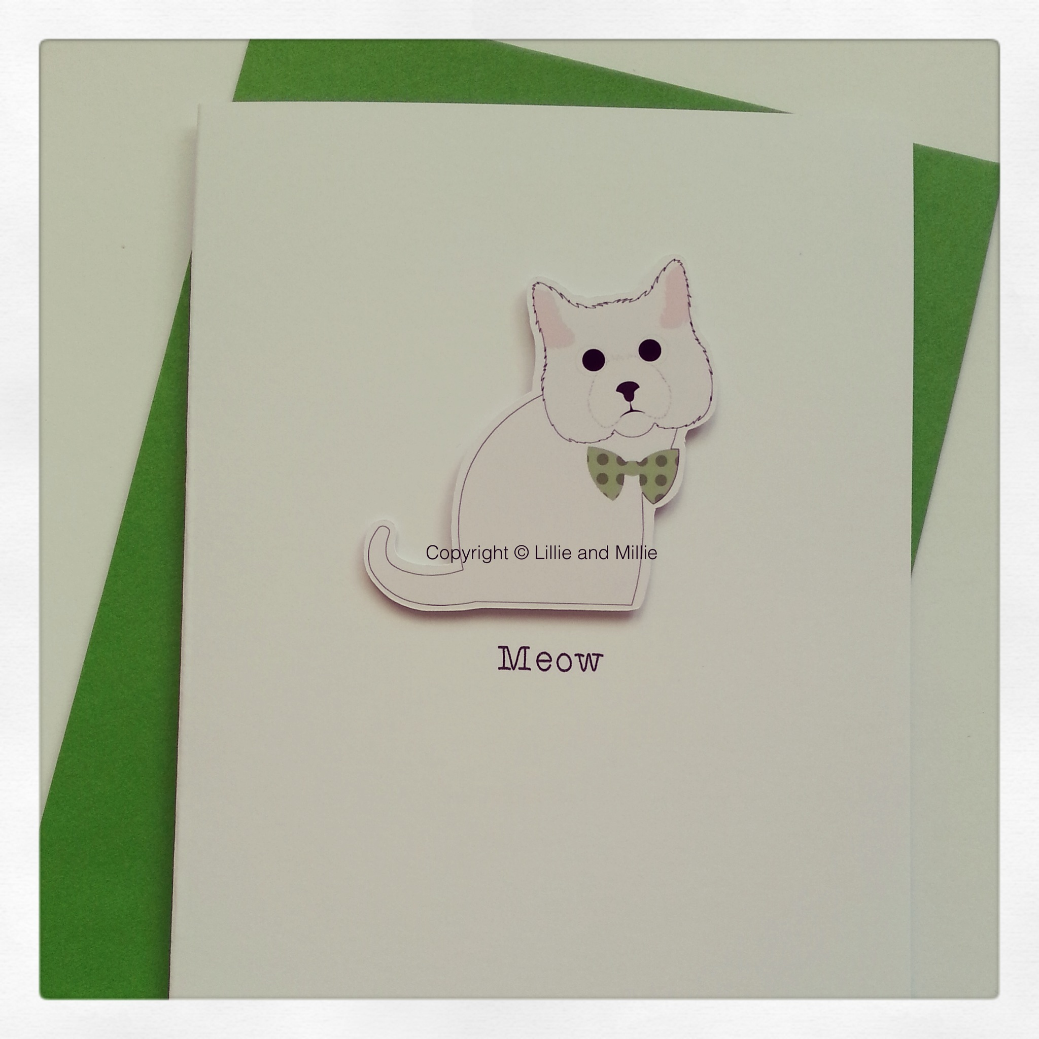 Cute and Cuddly White Cat Green Bowtie Card