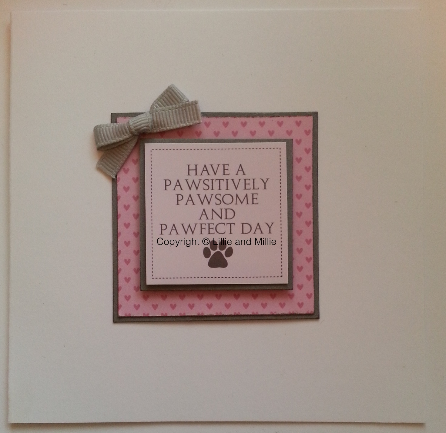 Handcrafted Handmade Dog Greetings Card Pawsome Pawfect Pawsitively