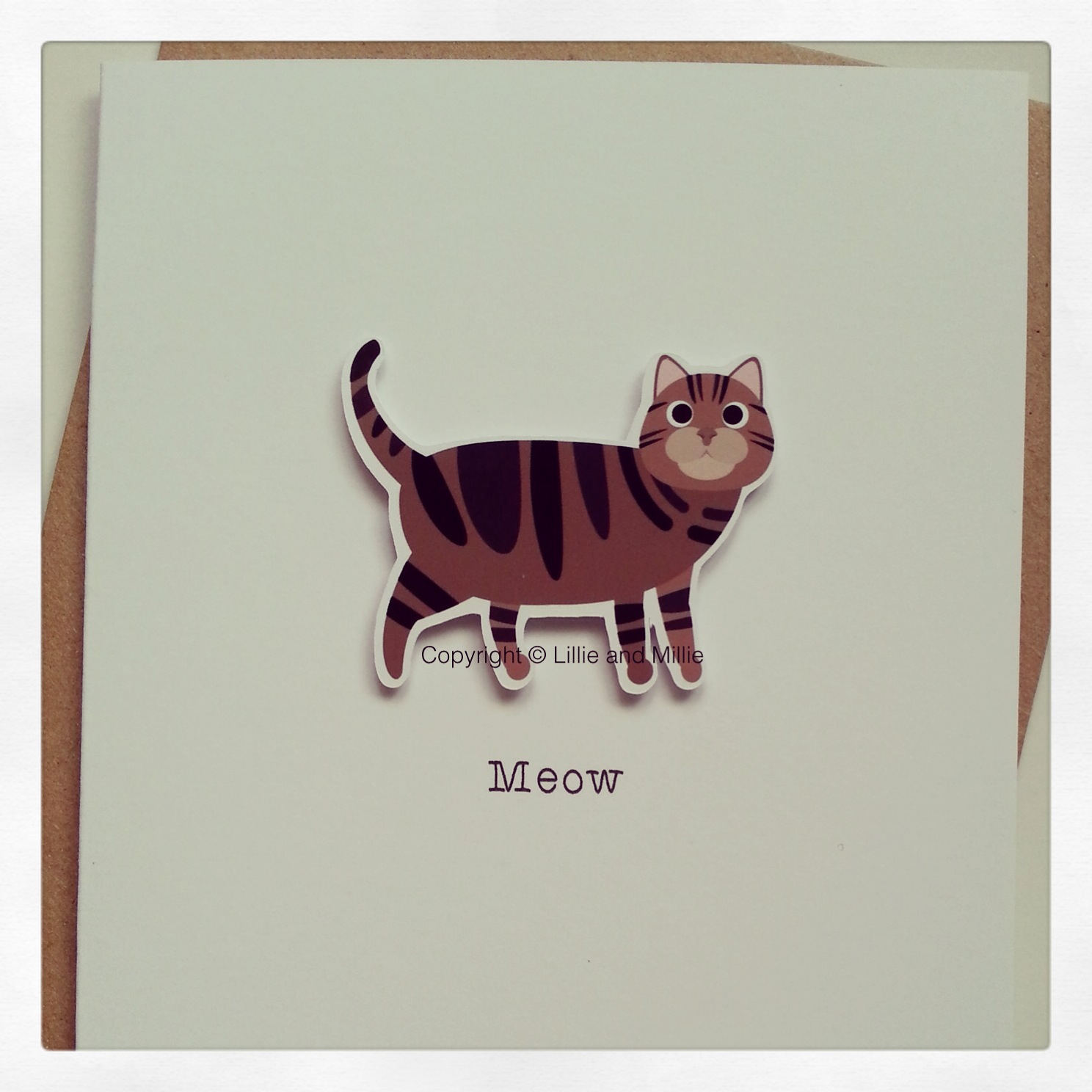 Cute and Cuddly Brown Tabby Cat Greetings Card