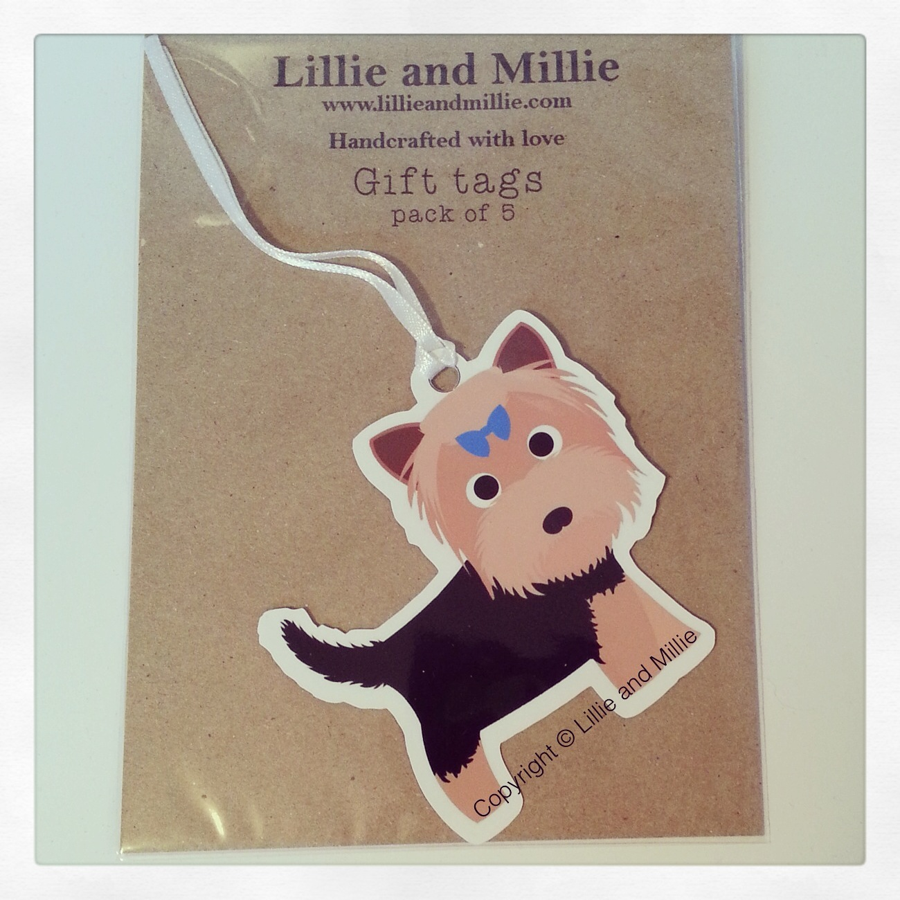 Cute and Cuddly Yorkie Blue Bow Gift Tags 5 Pack