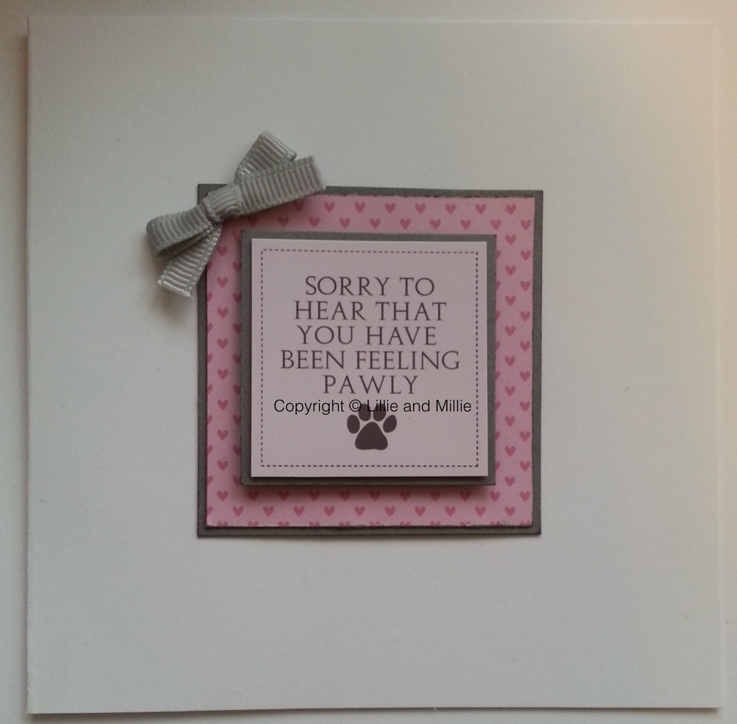 Handcrafted Handmade Dog Greetings Get Well Soon Pawly Poorly Card