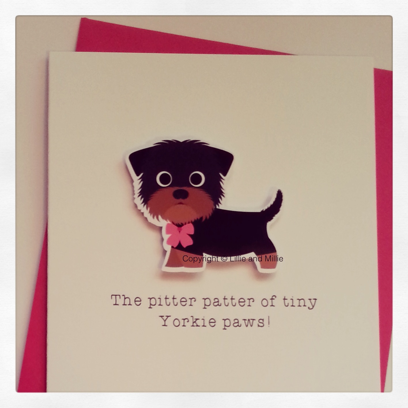 Cute and Cuddly Yorkie Pink Bow Pitter Patter Puppy Card