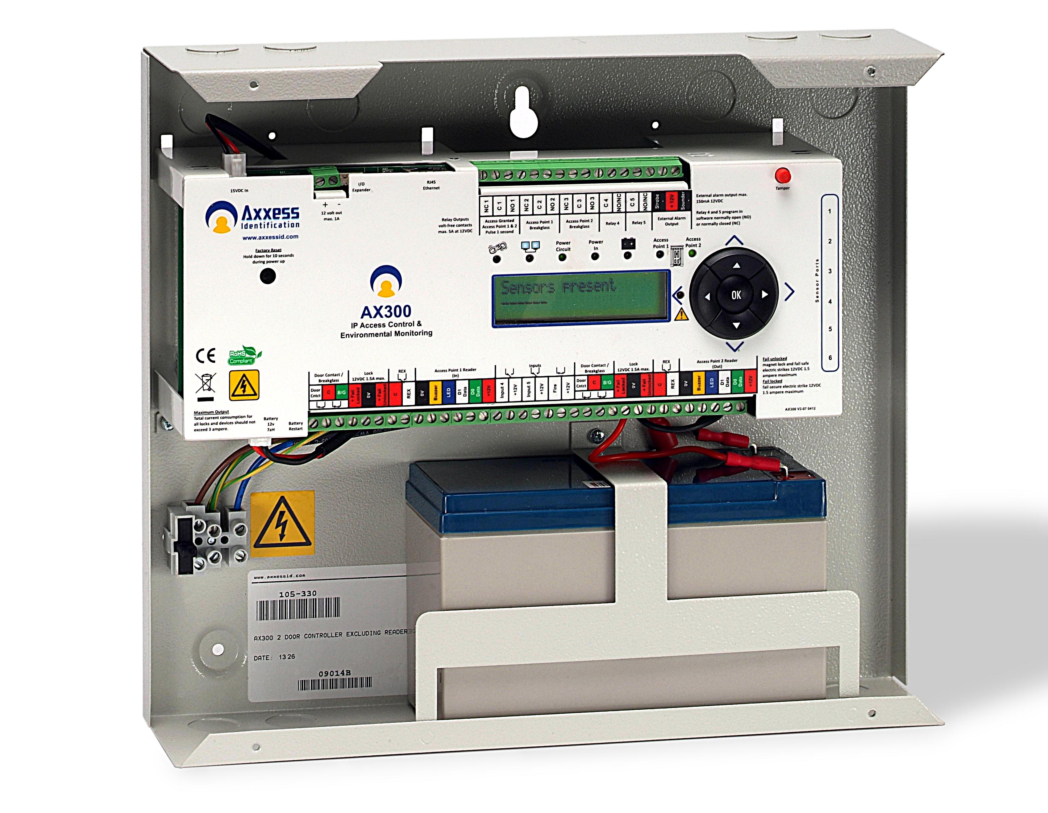 Interior view - AX300 2 door controller with built in power supply, optional battery backup.